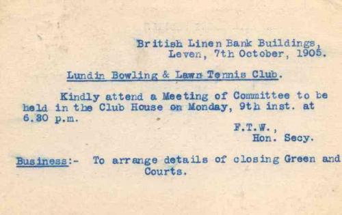 Lundin Links, Bowling and Lawn Tennis Club invite